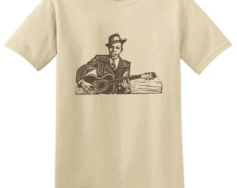 ROBERT JOHNSON - King Of The Delta Blues Guitar T-shirts - bluesman tees - Small, Medium, Large, Extra Large, 2XL, 3XL, 4XL, 5XL