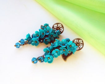 Cluster Earrings Turquoise flowers handmade of polymer clay Fashion jewelry Floral long earrings Earrings bridesmaid Turquoise weddings