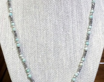 20'' Silver and light aqua blue bead necklace with Owl pendant.