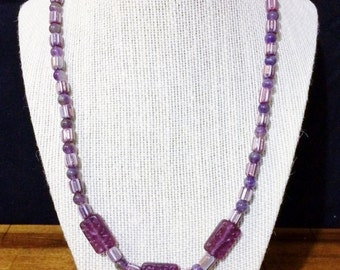 20'' Purple Amethyst and Chevron bead necklace.