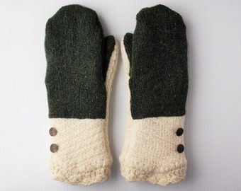 Adult Wool Sweater Mittens, Fleece Lined -- Women's L or Men's M: Green Cream (#053) Upcycled, Repurposed