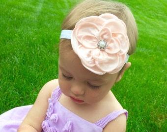 Light Pink Flower Headband with Jewel