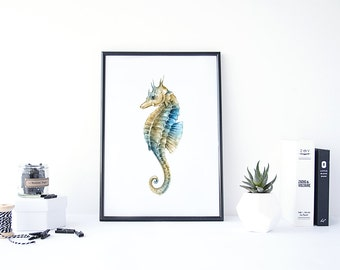 Seahorse Painting, Nautical Painting, Sea Horse Wall Art, Watercolor Nautical, Beach Decor Bathroom, Watercolor Sea Art, Seahorse Art
