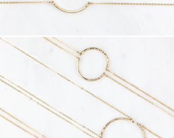 Friendship Necklaces - Dainty Curved Bar Necklaces, Sets of 2, 3 or 4  /  14k Gold Fill, Sterling Silver, Rose Gold Fill / GN190