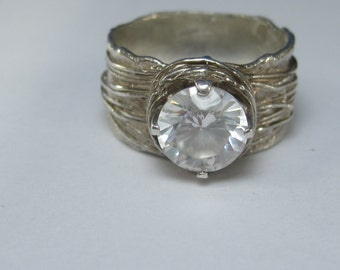 Vintage Sterling Silver White Gemstone Tree Branch Ring Size 7