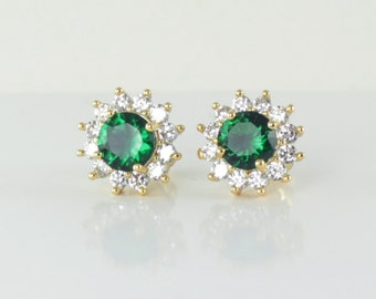 Emerald Earrings 14K Yellow Gold-Filled / Emerald Earrings Studs