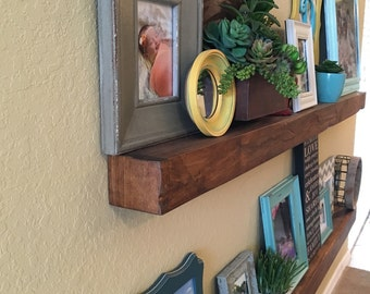 "Handcrafted Wooden Rustic Floating Shelves 72"" Length, Can Be Made To Any Custom Length Upon Request."