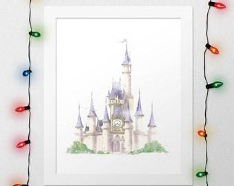 DISNEY CASTLE, Cinderella Castle, Princess Castle, Castle Print, Princess, Disney Watercolor, Disney Castle Nursery, Wall Art, Digital Print
