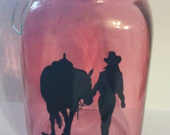 Cowgirl and her horse canister with locking lid