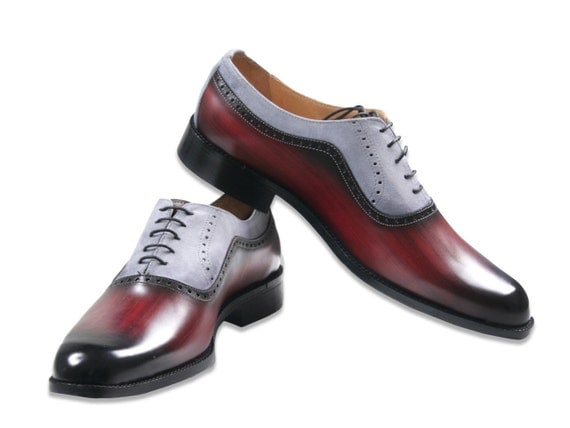Leather man shoes, red wood and grey suede, Oxford, hand painted (made in Italy)