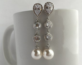 White Pearl and Crystal Long Bridal Drop Earrings Wedding Cubic Zirconia and Pearls Rhodium Dangle Earrings Swarovski Pearl Jewelry