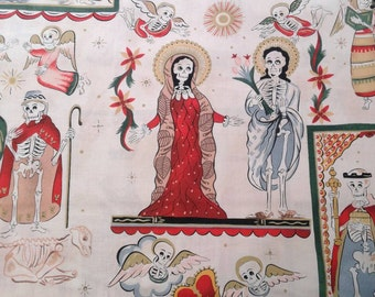 Santos, Nativity, Christmas Fabric, Mexican Religious Scene, Alexander Henry, skeleton, by the yard or half yard