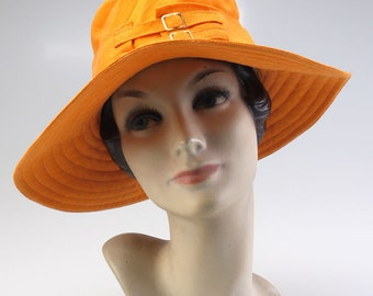 1960s Orange Linen MOD Hat by Bermona Boutique