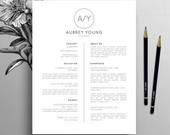 Professional Resume Template, Cover Letter Template, CV for Word + Pages US Letter & A4, Creative Resume Template, Instant Download, Aubrey