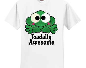 YOUTH Toadlly Awesome Glitter Tshirt, Toad Shirt, Frog Shirt, Toadlly Awesome Shirt, Awesome Tshirt, Cute Frog Shirt, Frog Tshirt