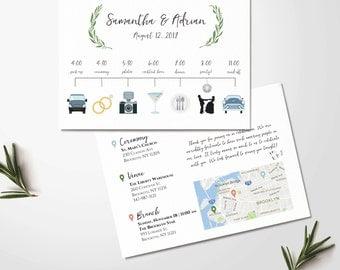 Custom Wedding Timeline - Wedding Itinerary Timeline -Wedding Day Schedule - Icon Timeline - Wedding Order of Events -Printable Digital File