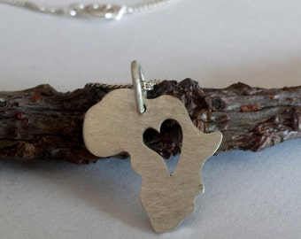 Sterling Silver Africa Heart Necklace
