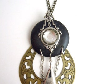 Layered Crystal Pendant Necklace