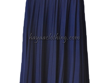 NAVY Flare Jersey Pleated Maxi Skirt | Modest Long Skirt | Islamic Clothing S M L XL 2XL 3XL 4XL
