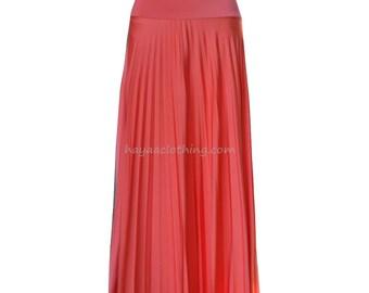 TANGERINE CREME Flare Jersey Pleated Maxi Skirt | Modest Long Skirt | Islamic Clothing S M L XL 2XL 3XL