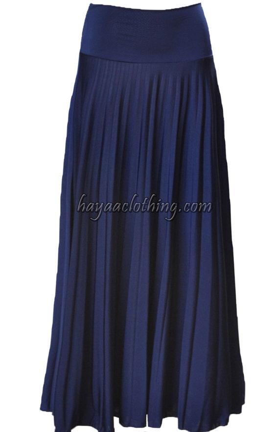 navy flare jersey pleated maxi skirt modest skirt