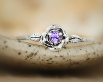 Size 9.5 - Delicate Amethyst Rose Engagement Ring in Sterling - Silver Rose Promise Ring - February Birthstone Ring - Ready to Ship