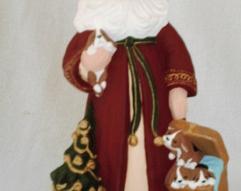 Ceramic Old World Santa with Puppies\Dogs