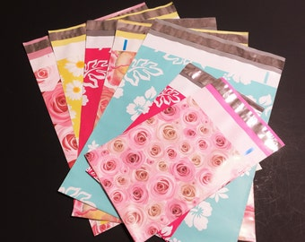 150 Assorted Designer Poly Mailers 10x13 And 6x9  Flowers Hibiscus Roses Daisies Waterflower Envelopes Shipping Bags