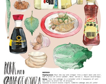 Illustrated Recipe Illustrated Food Pork & Cabbage Gyoza Recipe Illustration Print