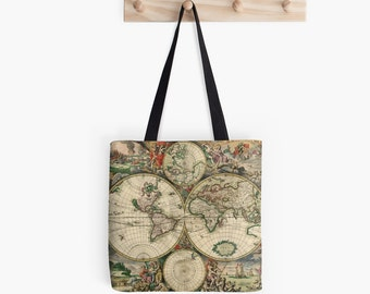 Yolo typography college tote bag canvas tote bag fabric ancient vintage world map tote bag canvas tote bag fabric market bag historian gumiabroncs Choice Image