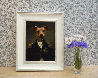 Red Dog dressed as Nelson Framed Pet Portrait Print