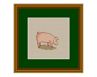 Pink Piggy Counted Cross Stitch Pattern. PDF Instant Download. Pattern.