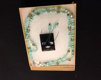 Aqua necklace and earrings set