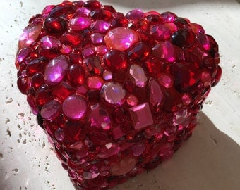 Pink 3D Heart Shaped Jeweled Treasure Box -
