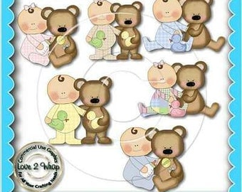 Babies and Bears, Clipart, Baby, Bear, Commercial use