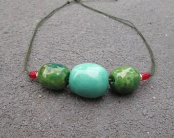 Handmade ceramics necklace