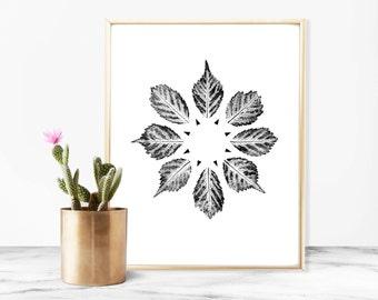 "Wall Art, Nature, Art Print, Home Decor, Plant, Wall Decor, Geometric Art Print, Minimal Art, Leaf Art Print, Botanical Art Print, 9"" x 12"""