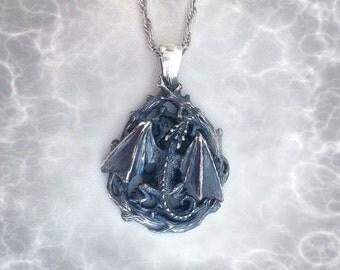 Dragon Pendant.Dragon Pendant.Fantasy Jewelry.Silver Dragon.celtic dragon.Dragon Gift.GOT Pendant.house targaryen.Fantasy Dragon.Dragon art