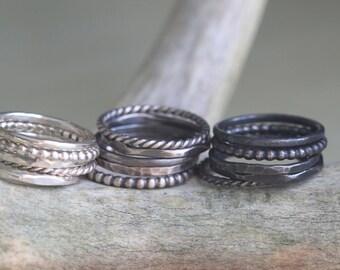 Custom Stacking Rings - Set of 5 - Pick your Finish - Dainty Ring Set - Best Stacking Rings - Delicate Ring Set - Stacking Boho Ring