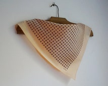 ECHO small square scarf, silk neck kerchief, blue and brown tile print on ivory background, vintage fashion accessories