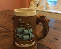 Beer Mug, Pirate Mug, Viking Mug, Vintage Pottery (A996)