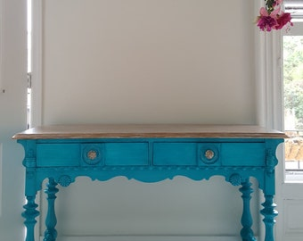 Turquoise Dream, Hand Painted Vintage Wood Table,desk, Vanity.