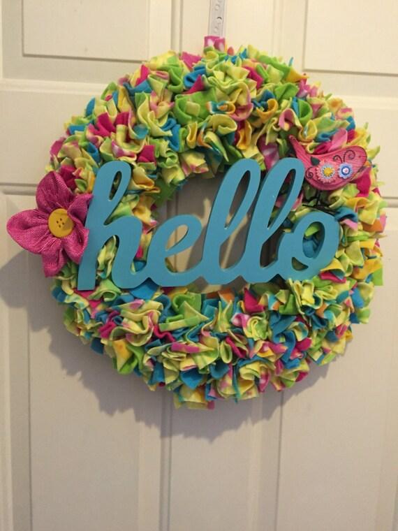 Spring wreath summer wreath colorful wreath hello wreath for Colorful summer wreaths