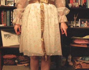 Cream Floral 60's Vintage Dress