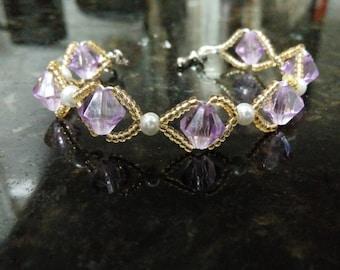 Lavender and Pearl Bracelet