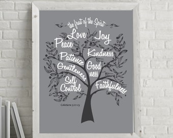 Instant Download * 8x10  scripture artwork   Fruit of the Spirit  CHARCOAL Galatians 5:22 Inspirational artwork for your wall  DIY