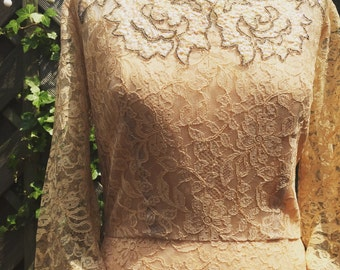 Beautiful DuBarry New York vintage wedding dress/evening gown in lace with embellished sequinned collar detail.
