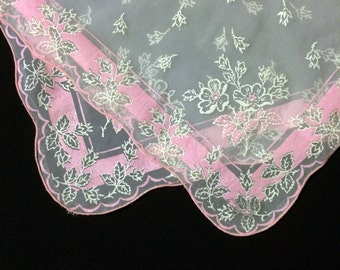 Painted Silk Handkerchief - Transparent with Pink & White Floral Border Hankie
