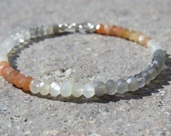 Faceted Moonstone Beaded Bracelet