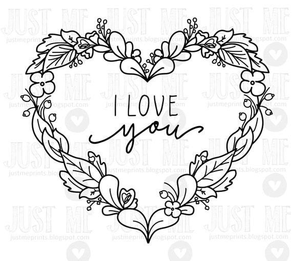 valentine heart wreath digital stamp